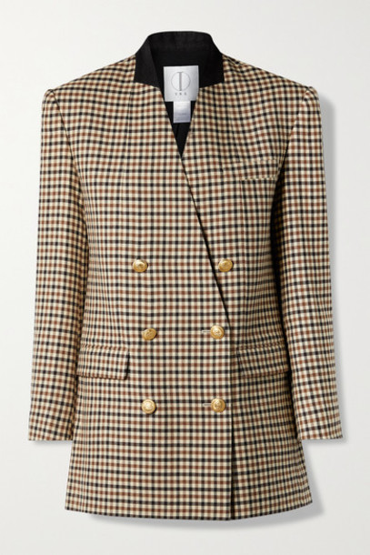 TRE by Natalie Ratabesi - The Diana Oversized Double-breasted Felt-trimmed Checked Twill Blazer - Beige