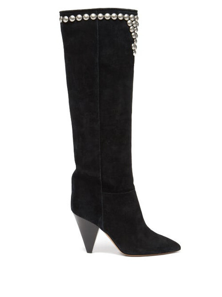 Isabel Marant - Libree Studded Suede Knee-high Boots - Womens - Black