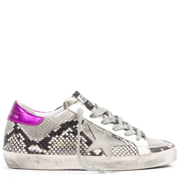 Golden Goose Snake Printed Leather Superstar Sneakers