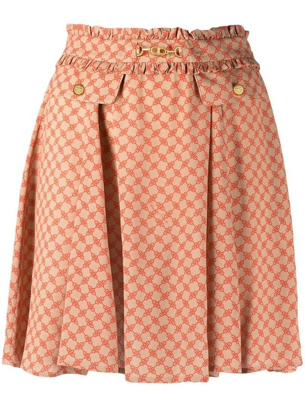 Elisabetta Franchi horsebit-print high-rise mini skirt in neutrals