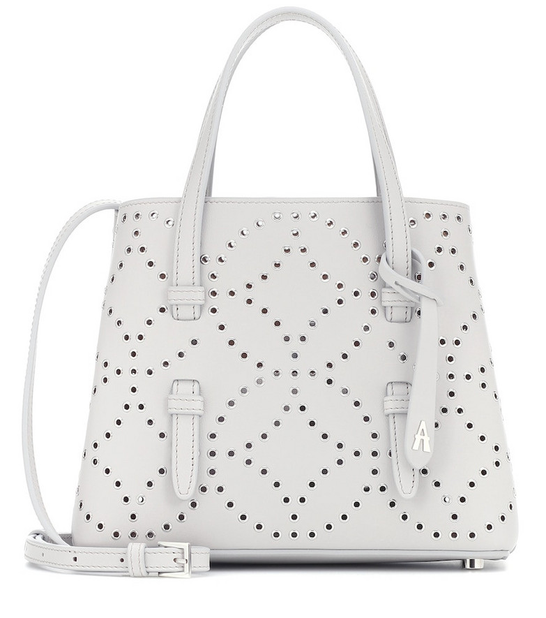 Alaïa Mina Mini embellished leather tote in grey