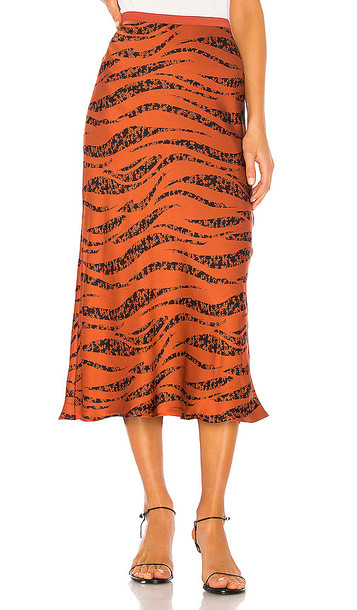 ANINE BING Bar Silk Skirt in Rust