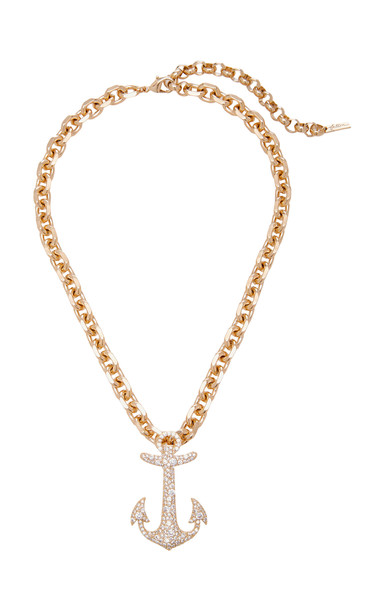 FALLON Gold-Plated Crystal Anchor Necklace