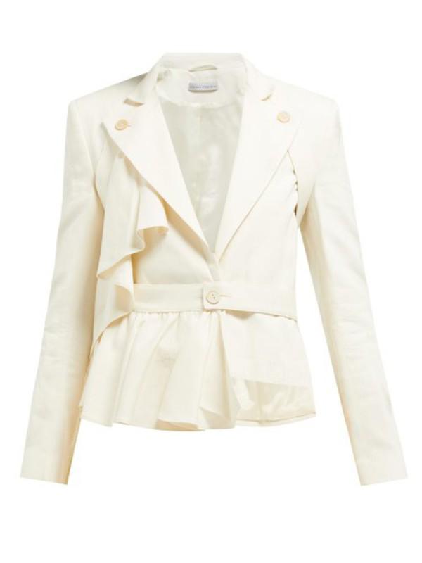 Palmer/harding Palmer//harding - Slash Ruffled Tie Waist Cotton Blend Blazer - Womens - Cream