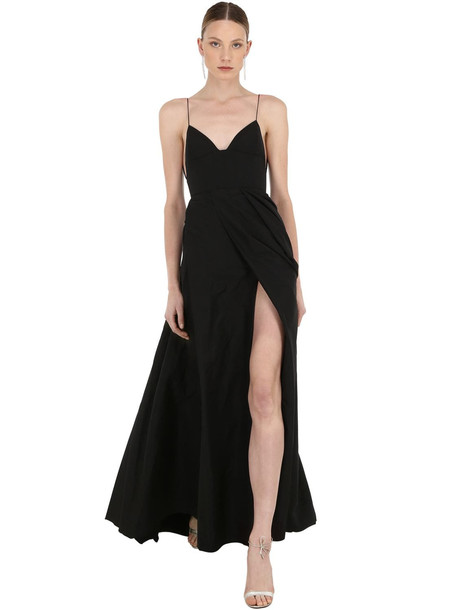 ALEX PERRY Long Silk Grosgrain Dress in black