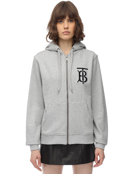 BURBERRY Tb Logo Zip-up Cotton Jersey Hoodie in grey
