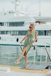 mi aventura con la moda,blogger,shoes,dress,sunglasses,jewels,green dress,summer dress,summer outfits