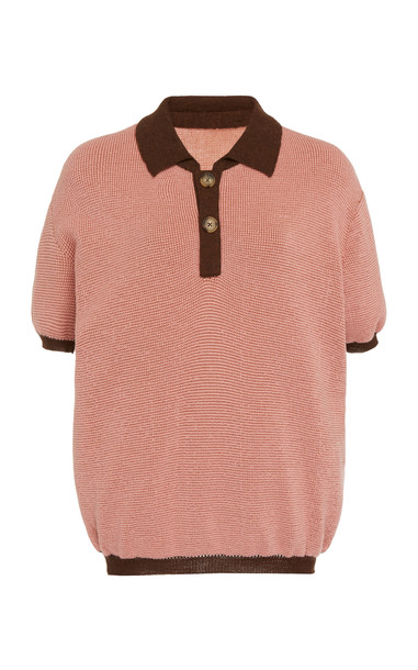Rejina Pyo Lyle Contrast-Trim Wool Blend Polo Shirt Size: XS in pink