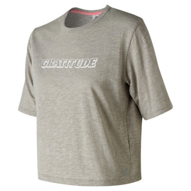 New Balance 91467 Women's Well Being Cropped Tee - Grey (WT91467STO)