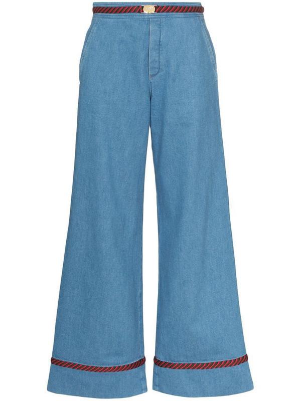 Gucci Web trim wide-leg jeans in blue