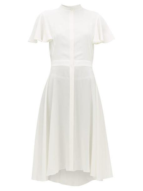 Alexander Mcqueen - Waved Silk-crepe Dress - Womens - White