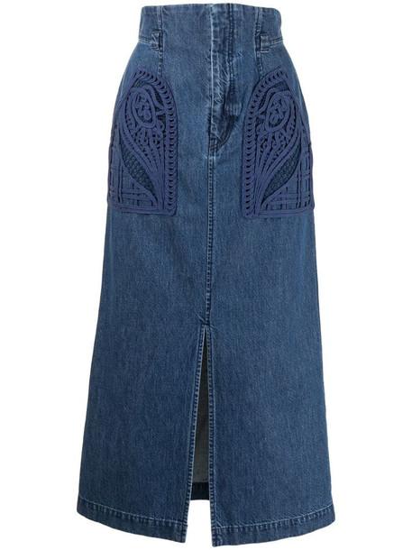 Mame Kurogouchi embroidered-pocket denim skirt in blue