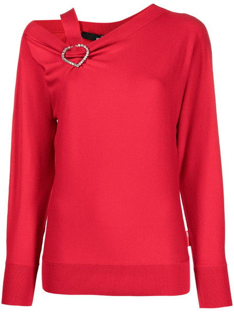 Love Moschino heart-detail ruched jumper in red