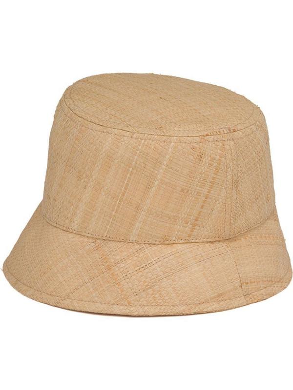 Prada logo-plaque bucket hat in neutrals