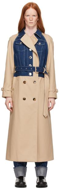 Burberry Beige Gabardine Paneled Trench Coat