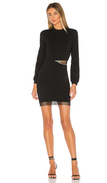 superdown Iselia Fishnet Sweatshirt Dress in Black