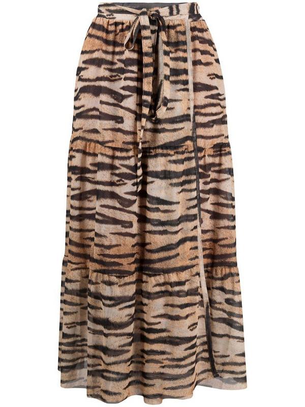 Baum Und Pferdgarten tiger-print maxi skirt in brown