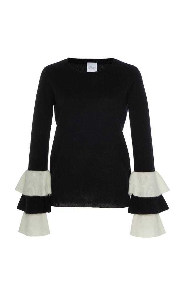 Madeleine Thompson Jupiter Ruffle-Accented Cashmere Sweater in black