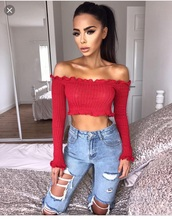blouse,crop tops,red,ruffle,long sleeves
