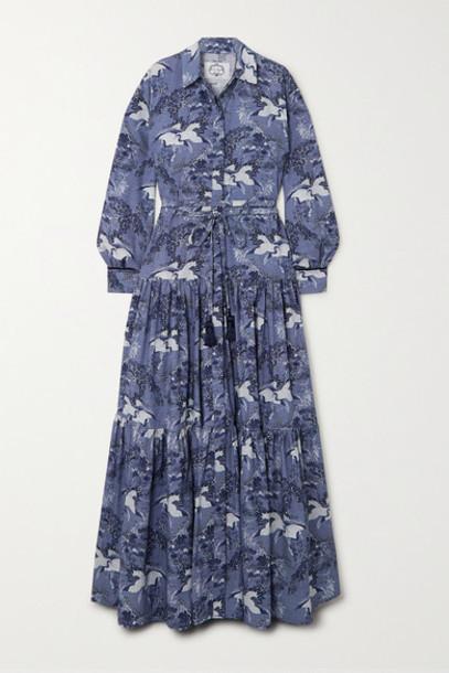 Evi Grintela - Atlas Tiered Velvet-trimmed Printed Cotton Maxi Dress - Navy