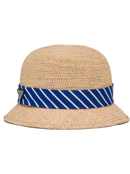 Prada woven raffia hat in neutrals