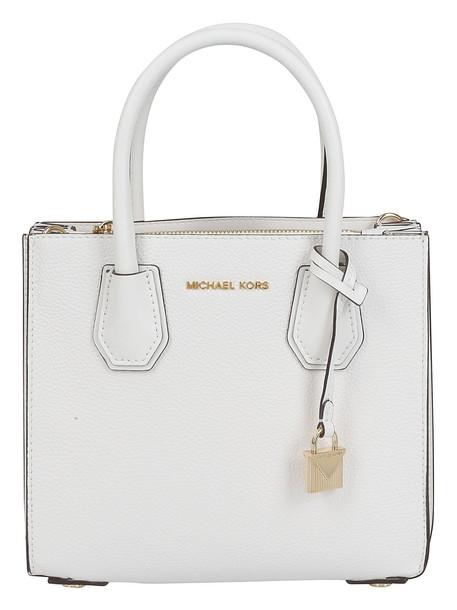 Michael Kors Logo Plaque Shoulder Bag in white
