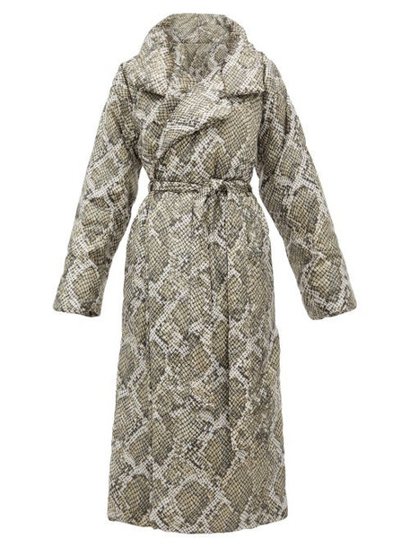 Norma Kamali - Sleeping Bag Snakeskin Print Padded Shell Coat - Womens - Grey Print
