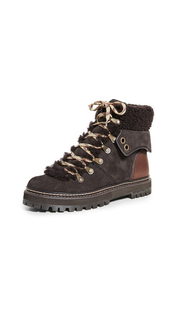 See by Chloe Eileen Flat Shearling Hiker Boots in natural
