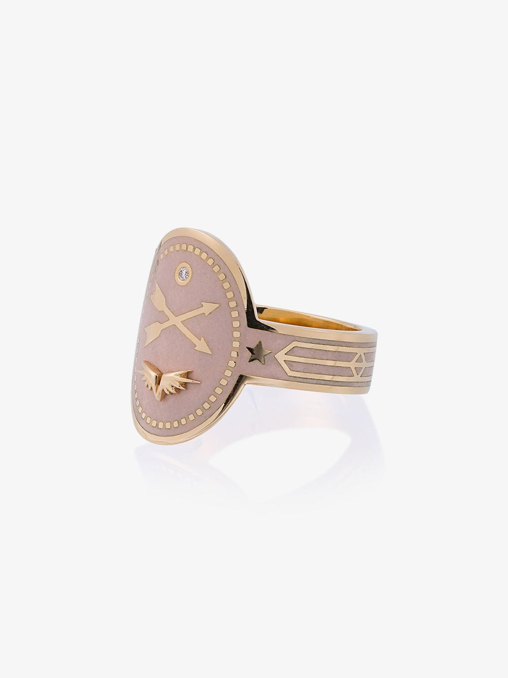 Foundrae Crossed Arrows Diamond Cigar Band Ring in pink / purple