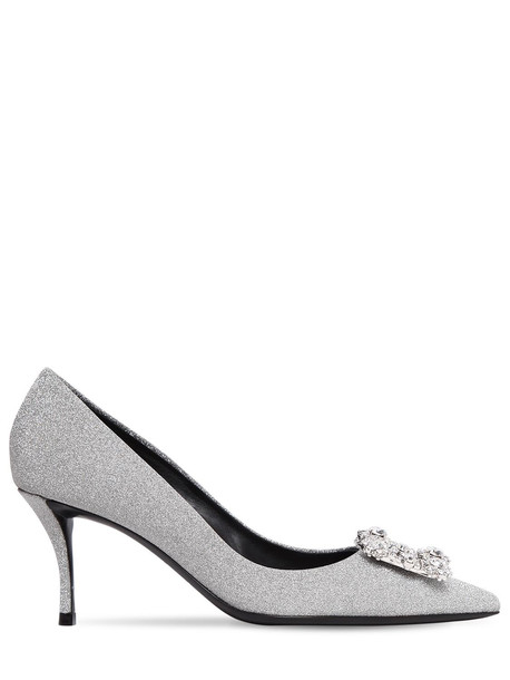ROGER VIVIER 65mm Embellished Flower Glittered Pumps in silver
