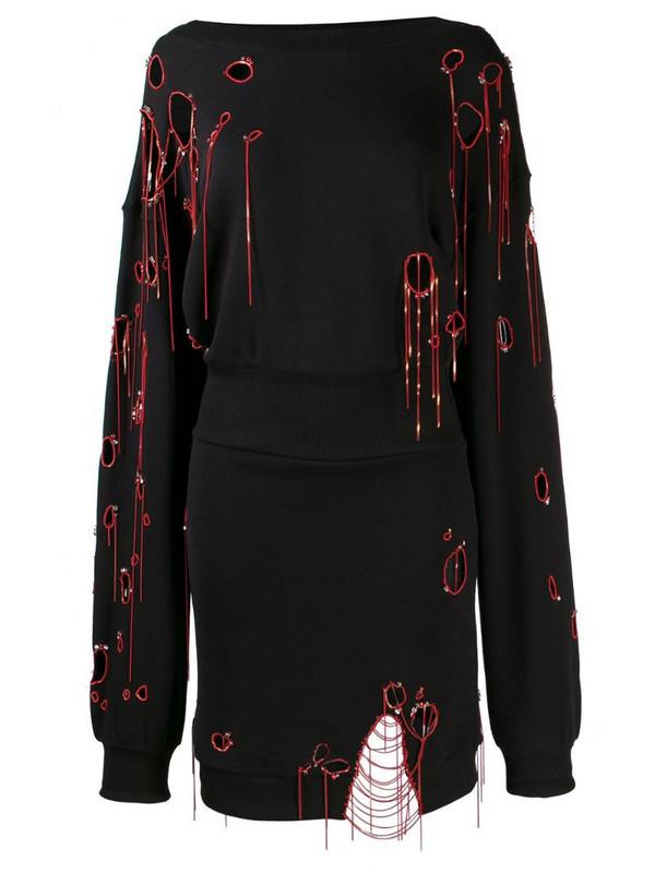 Faith Connexion distressed sweatshirt dress in black