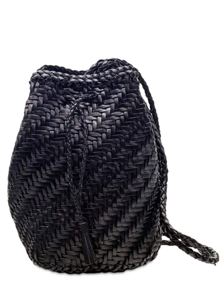 DRAGON DIFFUSION Pompom Double J Woven Leather Basket Bag in black