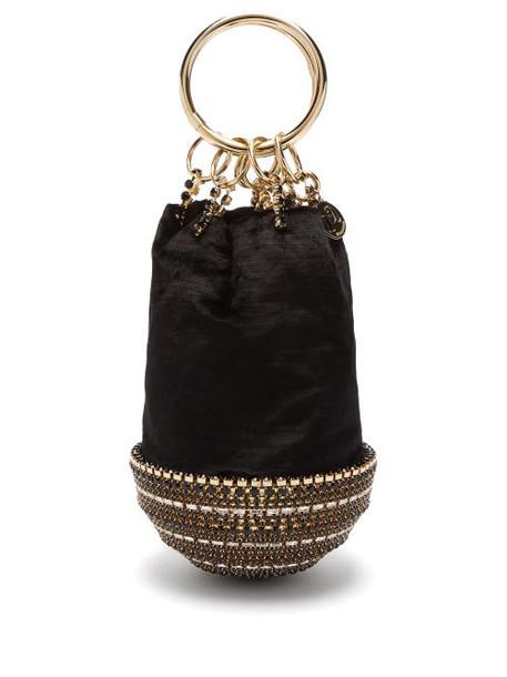 Rosantica By Michela Panero - Ghizlan Crystal Base Velvet Clutch Bag - Womens - Black Gold