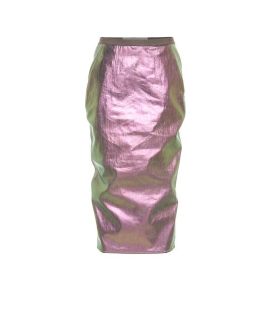 Rick Owens Metallic denim skirt