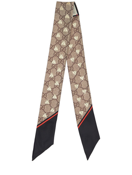 GUCCI Gg Supreme Printed Silk Twill Scarf in black / red