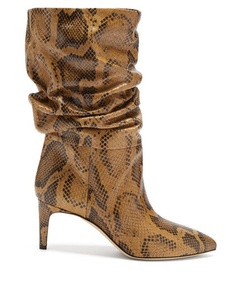 Paris Texas - Slouchy Python-effect Leather Ankle Boots - Womens - Brown Multi