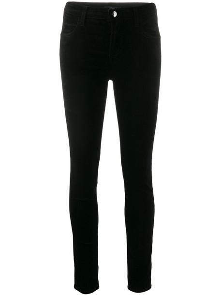 J Brand Maria high-rise skinny velvet trousers in black