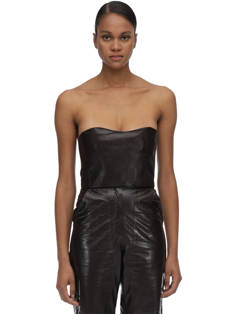 MARYAM NASSIR ZADEH Strapless Leather Top in brown
