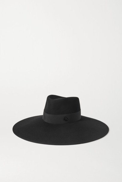 Maison Michel - Pina Grosgrain-trimmed Wool-felt Fedora - Black