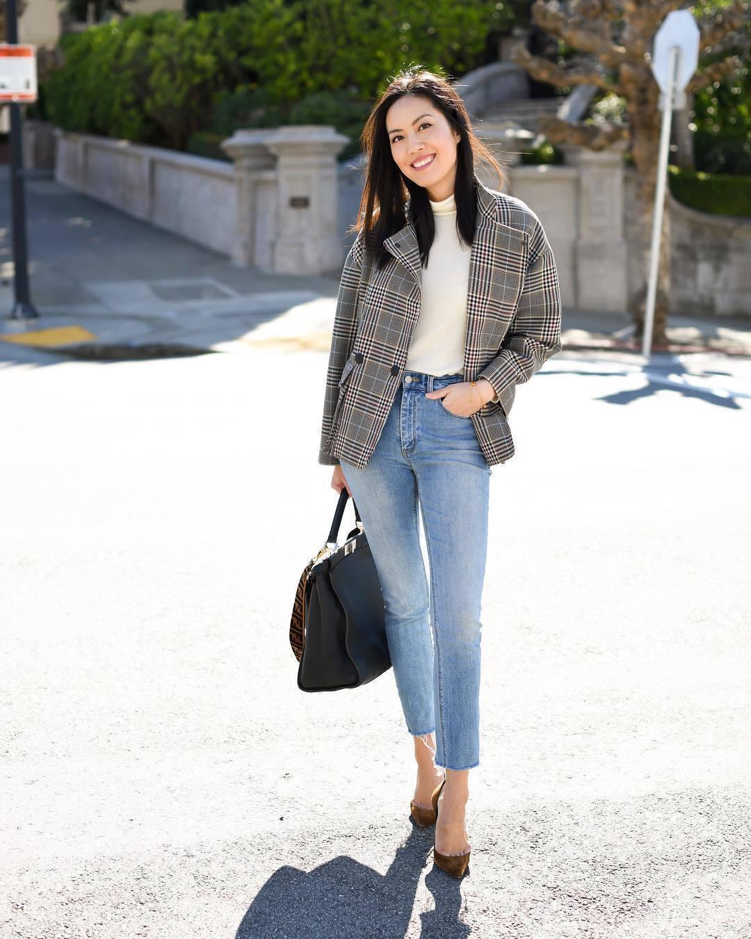 shoes pumps saint laurent cropped jeans skinny jeans high waisted jeans plaid grey coat turtleneck shoulder bag brown bag
