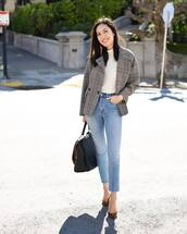 shoes,pumps,saint laurent,cropped jeans,skinny jeans,high waisted jeans,plaid,grey coat,turtleneck,shoulder bag,brown bag