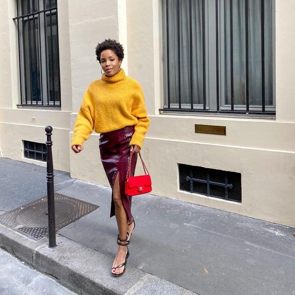 sweater yellow sweater turtleneck sweater h&m midi skirt black sandals red bag