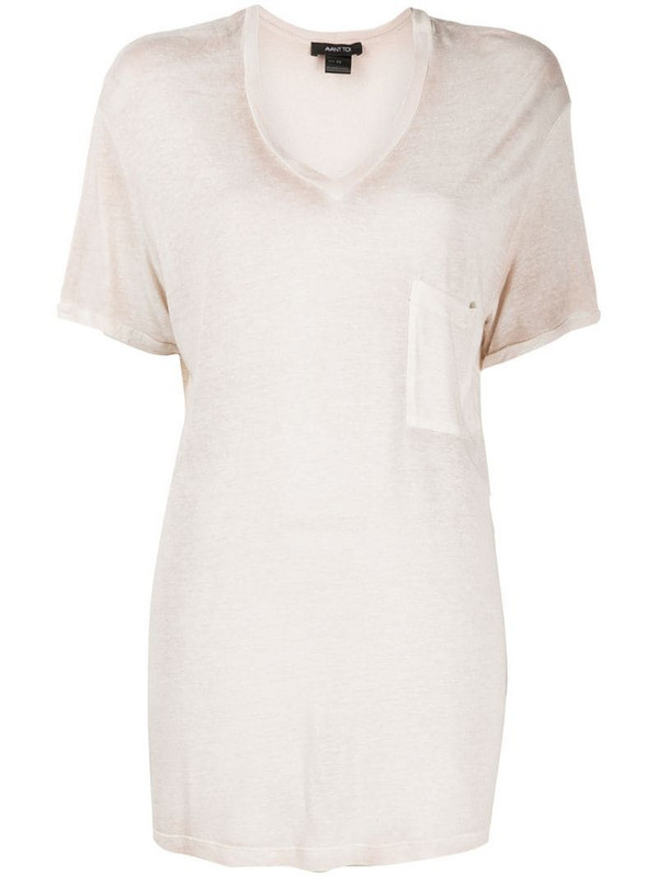 Avant Toi slouchy V-neck T-shirt in neutrals