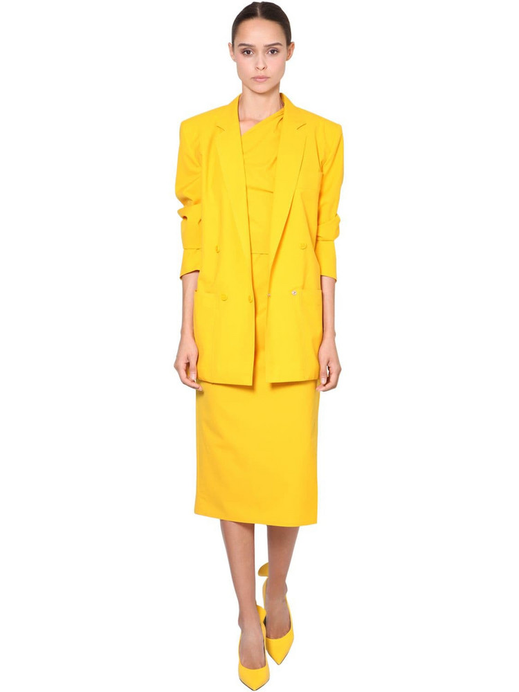 MAX MARA Cotton Canvas Blazer in yellow
