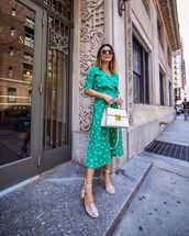 dress,midi dress,green dress,polka dots,wrap dress,short sleeve dress,white sandals,white bag