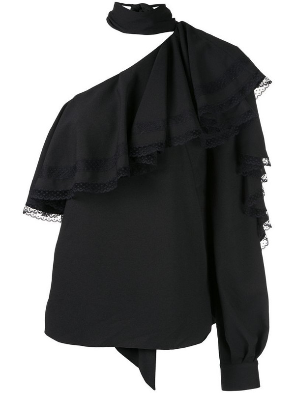 Ingie Paris ruffled one-shoulder blouse in black