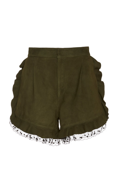 Dundas Ruffled Suede Shorts in green