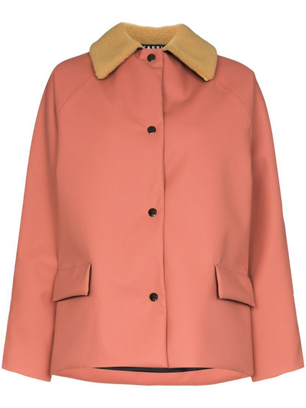 KASSL Editions shearling collar padded jacket in pink