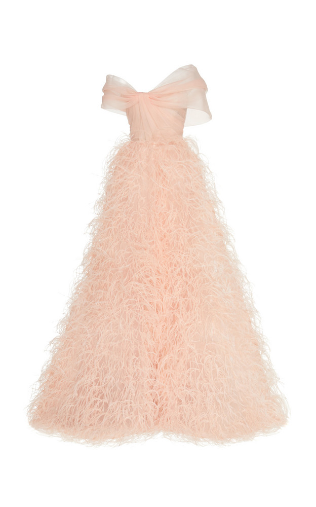 Monique Lhuillier Ostrich Feather & Organza Ball Gown in pink