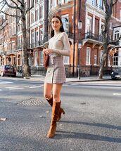 skirt,plaid skirt,mini skirt,knee high boots,suede boots,turtleneck,bag